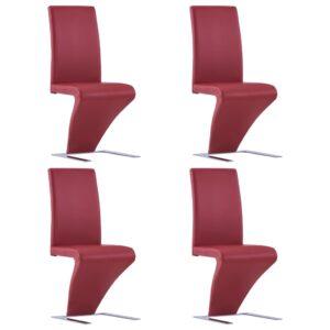 Cadeiras de jantar ziguezague 4 pcs couro artificial vermelho - PORTES GRÁTIS
