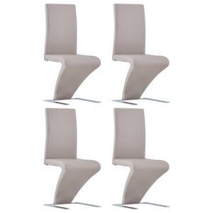 Cadeiras de jantar ziguezague 4 pcs couro artificial cappuccino - PORTES GRÁTIS