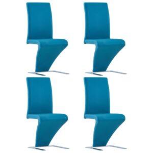 Cadeiras de jantar ziguezague 4 pcs couro artificial azul - PORTES GRÁTIS