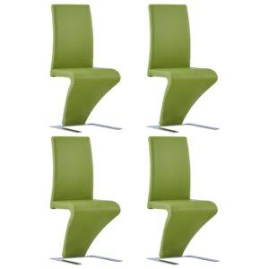 Cadeiras de jantar ziguezague 4 pcs couro artificial verde - PORTES GRÁTIS