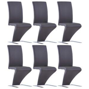 Cadeiras de jantar ziguezague 6 pcs couro artificial cinzento - PORTES GRÁTIS
