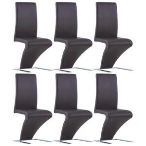 Cadeiras de jantar ziguezague 6 pcs couro artificial castanho - PORTES GRÁTIS