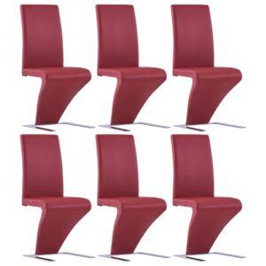 Cadeiras de jantar ziguezague 6 pcs couro artificial vermelho - PORTES GRÁTIS