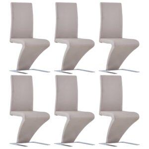 Cadeiras de jantar ziguezague 6 pcs couro artificial cappuccino - PORTES GRÁTIS