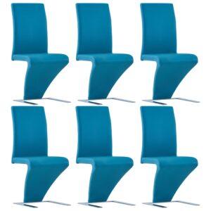 Cadeiras de jantar ziguezague 6 pcs couro artificial azul - PORTES GRÁTIS