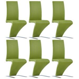Cadeiras de jantar ziguezague 6 pcs couro artificial verde - PORTES GRÁTIS