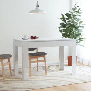 Mesa de jantar 120x60x76 cm contraplacado branco brilhante - PORTES GRÁTIS