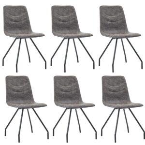 Cadeiras de jantar 6 pcs couro artificial castanho-escuro - PORTES GRÁTIS