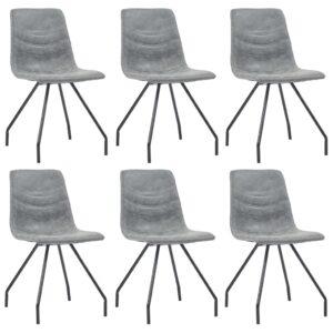 Cadeiras de jantar 6 pcs couro artificial cinzento-escuro - PORTES GRÁTIS