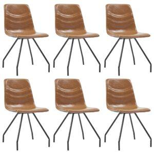 Cadeiras de jantar 6 pcs couro artificial conhaque - PORTES GRÁTIS