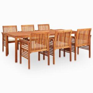 7 pcs conjunto de jantar exterior c/ almofadões acácia maciça - PORTES GRÁTIS
