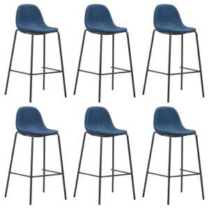 Cadeiras de bar 6 pcs tecido azul - PORTES GRÁTIS