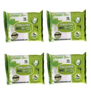 60 Toalhitas WC Biodegradáveis de Carteira - Pack de 4 Embalagens