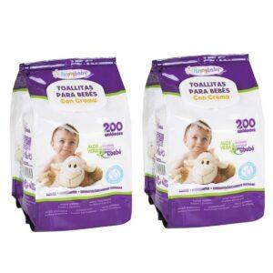 400 Toalhitas para Bebés com Creme - Pack de 2 Embalagens