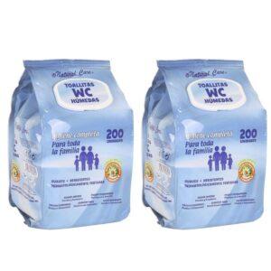 400 Toalhitas WC Húmidas  - Pack de 2 Embalagens