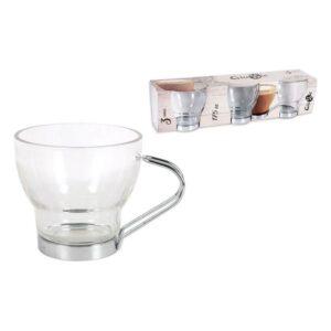Conjunto de Chávenas de Café Glassic 175 ml Cristal   3 Peças