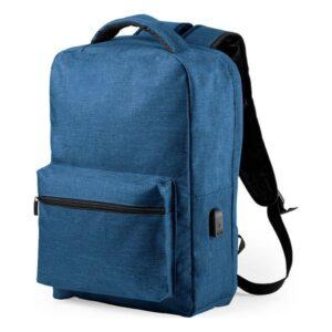 Mochila Antirroubo com USB e Compartimento para Tablet e Portátil Azul Marinho