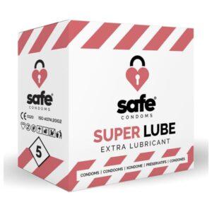 Pack de 5 - 10 - 36 ou 72 Preservativos Super Lube Safe