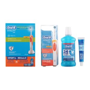 Conjunto de Pasta de Dentes com Escova e Lavagem Vitality Crossaction Oral-B (3 pcs)