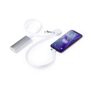 Fita de Pescoço com Carregador USB-C, Micro USB e Ligthning Branco 146145 Branco