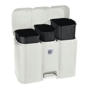 Balde de Lixo com Pedal Parry Tontarelli 3 Compartimentos Branco 40 L (58,5 x 32 x 41,5 cm)