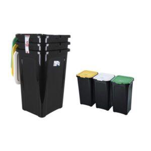 3 Caixotes de Lixo para Reciclagem Tontarelli 44 L Preto (38,5 x 34,5 x 54,5 cm)