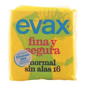 Pensos Higiénicos Normais sem Alas Fina & Segura Evax (16 uds)