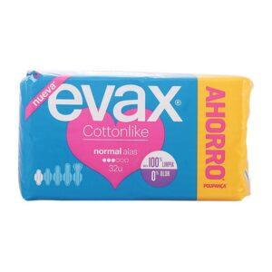 Pensos Higiénicos Normais com Alas Cottonlike Evax 32 Unidades