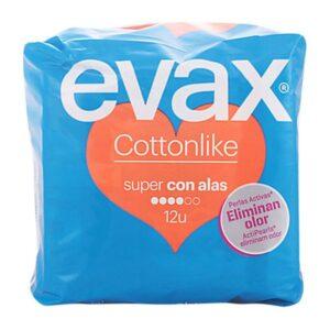 Pensos Higiénicos Super com Alas Cotton Like Evax (12 uds)