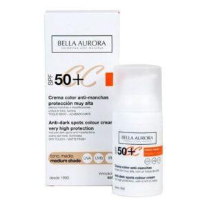 Creme Antimanchas Cc Cream Bella Aurora Tom médio 30 ml - Spf: 50+