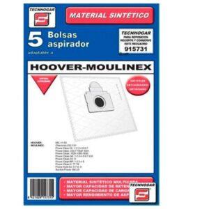 Sacos para Aspirador Hoover-Moulinex 915731 (5 Pcs)