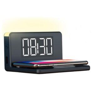 Relógio Despertador com Carregador sem Fios KSIX Qi Preto
