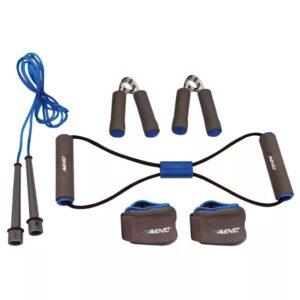 Avento Conjunto de fitness cinzento/azul cobalto/preto 41VE - PORTES GRÁTIS