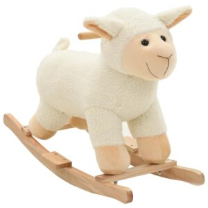 Animal de baloiçar ovelha em pelúcia 78x34x58 cm branco - PORTES GRÁTIS