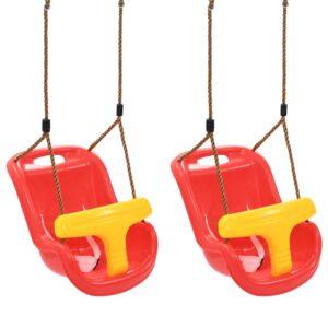 Baloiços para bebé com cinto de segurança 2 pcs PP vermelho  - PORTES GRÁTIS