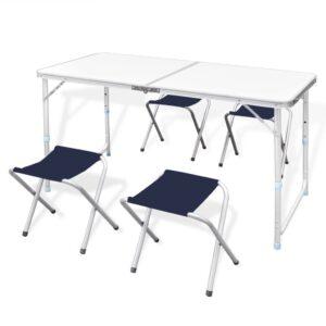 Conjunto dobrável de campismo, mesa e 4 bancos, altura ajustável - PORTES GRÁTIS