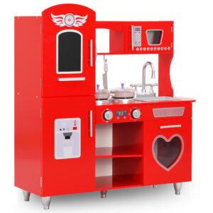 Cozinha de brincar para crianças MDF 84x31x89 cm vermelho - PORTES GRÁTIS