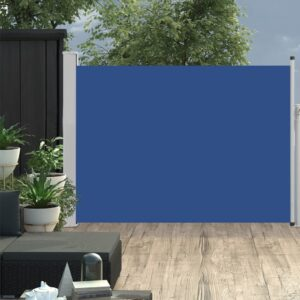 Toldo lateral retrátil para pátio 120x500 cm azul - PORTES GRÁTIS