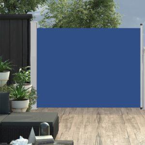 Toldo lateral retrátil para pátio 140x500 cm azul - PORTES GRÁTIS
