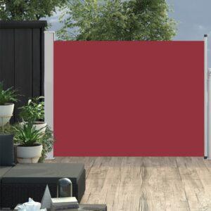 Toldo lateral retrátil para pátio 140x500 cm vermelho - PORTES GRÁTIS