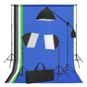 Kit estúdio com softbox de iluminação e fundos - PORTES GRÁTIS