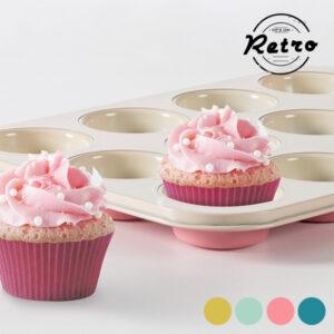 Forma Vintage para Cupcakes Retro Cor de Rosa