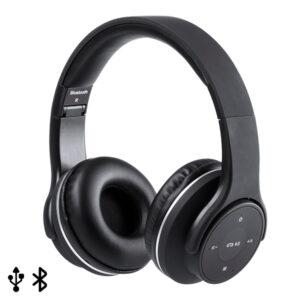 Auscultadores de Diadema Dobráveis com Bluetooth USB FM 6W Preto 146131 Preto