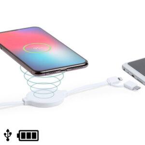 Cabo USB com Carregador sem Fios, USB-C e Lightning Branco 146259 Branco