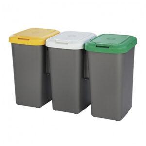 3 Caixotes de Lixo para Reciclagem Tontarelli Plástico Cinzento (77 X 32 x 47,5 cm)