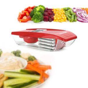 Cortador e Ralador de Vegetais com Depósito Quttin Vermelho (30 X 11,5 x 8 cm)