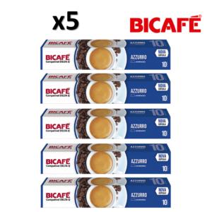 Pack 5 Caixas ( 50 Unidades ) Cápsulas Bicafé Compativeis com DELTA Q Azzurro Intensidade 10