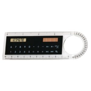 Régua com Calculadora Solar e Lupa (10 cm) Preto