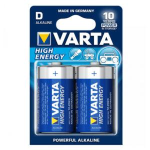 Pilha Alcalina Varta LR20 D 1,5 V 16500 mAh High Energy (2 pcs) Azul