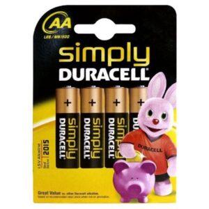 Pilhas Alcalinas DURACELL Simply DURSIMLR6P4B LR6 AA 1.5V (4 pcs)